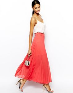 Coral maxi dress with white tank