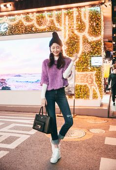 Rabbit Fur Knit Sweater CHLO.D.MANON | #purple #fur #sweater #cute #chic #stylish #dailylook #koreanfashion #streetstyle #seoul #kstyle #falltrend
