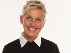 TV personality Ellen DeGeneres The funniest lady with beautiful blue eyes. Pixie Hairstyles, Short Hairstyles For Women, Cute Hairstyles, Pixie Haircuts, Ellen Degeneres Haircut, Pixie Styles, Short Hair Styles, Different Haircuts For Girls, Ellen And Portia