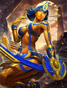 Smite gold neith artwork by Brolo. Egyptian Mythology, Egyptian Art, Greek Mythology, Art Manga, Anime Manga, Fantasy Girl, Dark Fantasy, Fantasy Characters, Female Characters