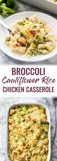 A low carb and cheesy broccoli and cauliflower rice chicken casserole that is pe. A low carb and cheesy broccoli and cauliflower rice chicken casserole that Clean Eating Snacks, Healthy Eating, Dinner Healthy, Clean Eating Recipes For Dinner, Healthy Dinners, Paleo Recipes, Dinner Recipes, Free Recipes, Mexican Recipes