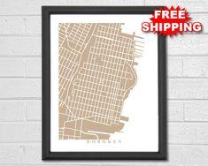 Hoboken Map Art  Map Print  New Jersey  Map Print  Home
