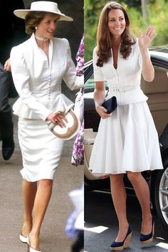 I do love white.  Both of these outfits are winners.  The only difference in these two styles is one is long sleeved and one short sleeved, and one is a straight skirt and the other a full skirt.  I still give the edge to Catherine's, but just barely. -  Diana at the Royal Ascot in June 1986; Kate in Singapore during the Diamond Jubilee Tour in September 2012.