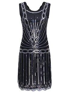 PrettyGuide Women's 1920s Vintage Art Deco Sequin Inspired Gatsby Flapper Dress: Amazon Fashion