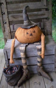 halloween decor. cute pumpkin man chilling on the porch. And it looks easy too