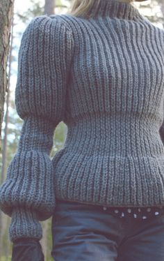 Grey fashion hand knit sweater women very soft cozy 100% wool big chynky knitwear wearable art fashion 2013 winter sweater unique design. $280.00, via Etsy.