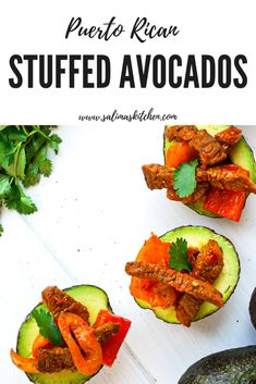 These Puerto Rican Stuffed avocados are inspired by local Portland Puerto Rican restaurant, Boriken, and make the most delicious low carb meal. Gluten Free Recipes For Dinner, Dairy Free Recipes, Low Carb Recipes, Sin Gluten, Go Veggie, Puerto Rican Recipes, Easy Weeknight Meals, Best Appetizers, Puerto Ricans