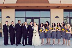 elegant gray and yellow wedding party.