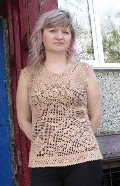 De filete fantástico maechka Crochet Clothes, Crochet Sweaters, Crochet Tops, Blouse Dress, Filet Crochet, Crochet Fashion, Free Pattern, Knitting, Lace