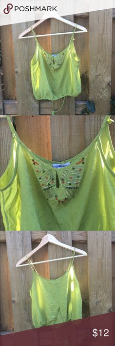 Apple green blouse Cool blouse. That's the sun shining through it Bar III Tops Blouses