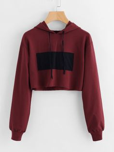 Patch Detail Crop Hoodie