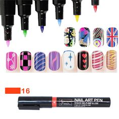 1pcs Nail Art Pen Painting Design Tool Drawing For UV Gel Polish Manicure Women Beauty Tools 16 Colors Free Shipping