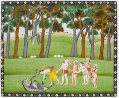 Krishna and Balarama defeating the Demon Dhenukasura. Folio from a Bhagavata Purana. India, school of Kangra, circa 1830-1840. Photo courtesy Ben Janssens Oriental Art Ltd.