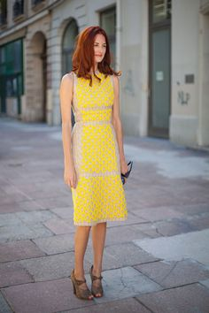 STREET STYLE SPRING 2013: PARIS FASHION WEEK - It's a less than mellow yellow dress on Taylor Tomasi-Hill.