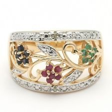 Two-Tone 925 Sterling Ruby Emerald Sapphire Flower Vine Openwork Band Ring Sz 8