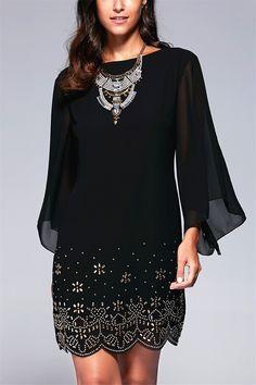 $18.60 Women's Stylish Jewel Neck Bell Sleeve Beaded Dress