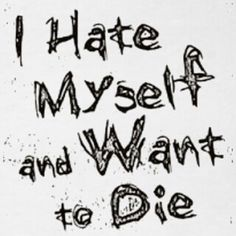 hmm...doesn't quite fit but close. honestly, i don't Hate myself anymore...i feel absolutely Nothing towards myself anymore :( and i do want to die.