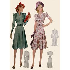 This beauty will be custom made for you using a vintage pattern that dates to 1940. It features a flattering gathered bust with shoulder