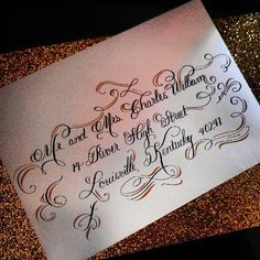 Dramatic Wedding Calligraphy Envelope