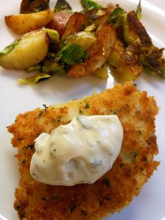 Panko crusted cod with brown butter caper mayo- YUM!