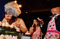 http://happily.io #cupcake #wedding #reception Cupcake eating competition!