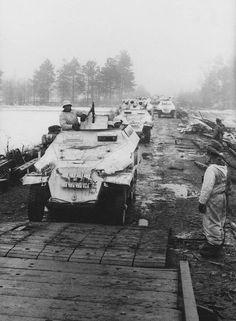 "historywars:1944, Ukraine, German SdKfz column of the ""16. Panzer-Division""  Halftracks on the move"