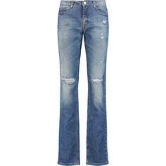 Victoria Beckham Denim Distressed mid-rise straight-leg jeans ($170) ❤ liked on Polyvore featuring jeans, mid denim, blue ripped jeans, button-fly jeans, long jeans, medium rise jeans and distressing jeans