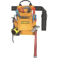 DEWALT Carpenter Leather Tool Apron at Lowe's. DeWalt carpenter's heavy-duty, suede leather nail and tool bag offers a double-gusset front pocket, 2 In. wide web belt with double-tongue roller