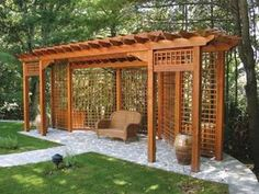 Keep these tips in head for best design alternatives when deciding upon a space to your pergola. A chair positioned under the side of this pitched-roof pergola faces the garden and it is more normal flat overhead beams raises the… Continue Reading → Diy Privacy Fence, Privacy Fence Designs, Backyard Privacy, Outdoor Pergola, Pergola Designs, Outdoor Rooms, Backyard Patio, Backyard Landscaping, Outdoor Living