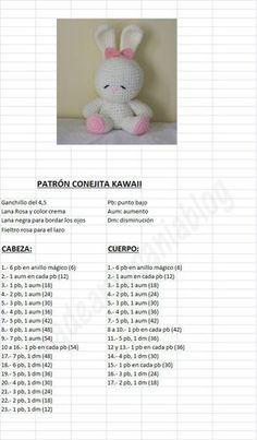 Amigurumi Kawaii Bunny - FREE Crochet Pattern / Tutorial in Spanish: : Amigurum. : Amigurumi Kawaii Bunny – FREE Crochet Pattern / Tutorial in Spanish: : Amigurumi Kawaii Bunny – FREE Crochet Pattern / Tutorial in Spanish: Easter Crochet Patterns, Crochet Bunny Pattern, Crochet Rabbit, Crochet Amigurumi Free Patterns, Crochet Bear, Crochet Dolls, Free Crochet, Crochet Lace, Diy Crafts Crochet