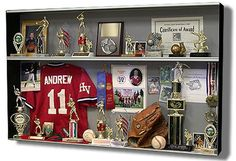 More ideas below: how to make diy display cases design how to build wooden diy display cases ideas glass diy display cases book storage vintage diy action Trophy Display Case, Trophy Shelf, Wall Display Case, Award Display, Baseball Display, Display Ideas, Boy Room, Kids Room, Softball