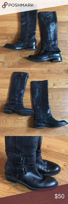Enzo Angliolini black Buckle zip up leather boots Black leather Buckle boots by Enzo Angiolini. Size 5. Zip up on side of boots. Nice quality! Perfect for fall! Style is Saylem. Very good Preowned condition! Only noticeable wear is in toes (please see photos). Enzo Angiolini Shoes Combat & Moto Boots