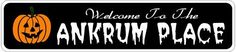 ANKRUM PLACE Lastname Halloween Sign - 4 x 18 Inches by The Lizton Sign Shop. $12.99. Rounded Corners. Predrillied for Hanging. Aluminum Brand New Sign. 4 x 18 Inches. Great Gift Idea. ANKRUM PLACE Lastname Halloween Sign 4 x 18 Inches - Aluminum personalized brand new sign for your Autumn and Halloween Decor. Made of aluminum and high quality lettering and graphics. Made to last for years outdoors and the sign makes an excellent decor piece for indoors. Great ...