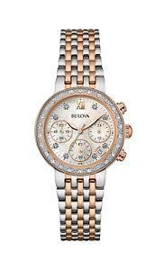 980e2ae022b Bulova Women s 98R215 Quartz Diamonds Mother of Pearl Dial Two-Tone 30mm  Watch
