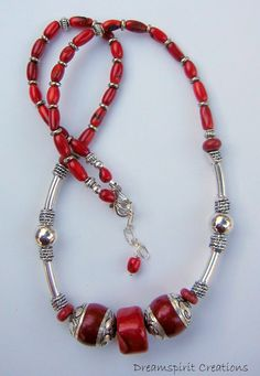 Red Coral With Tibetan Silver Red Amber by DreamspiritCreations, $175.00