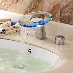 LED Waterfall Two Handles Hydroelectric Power Glass Bathroom Sink Faucet Chrome Finish - USD $ 125.99