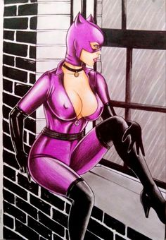 CATWOMAN BY artist SIDNEY CINTRA-ART PINUP Drawing Original COMIC #PopArt