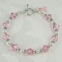 Swarovski Breast Cancer Bracelet Link doesn't work - purple for Alz? Bead Jewellery, Wire Jewelry, Beaded Jewelry, Jewelery, Jewelry Bracelets, Silver Jewelry, Necklaces, Bracelet Making, Jewelry Making