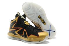 01b7df3526ab Nike Air Max LeBron X Elite EXT Celebration Pack Championship Basketball Shoes  Black Gold Nike Air