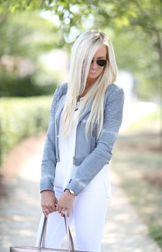 e83ae6d5b63 White Tank    ASbyDF Leather Jacket (c o) other great option here   here     White Jeans    Nude Heels (in black)    RayBan Sunglasses   …
