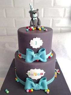 Ideas Boy Birthday Cake Decorating How To Make 2020 1st Birthday Cakes, Birthday Cakes For Women, Cakes For Boys, Homemade Birthday Cakes, Boy Birthday, Fondant Cakes, Cupcake Cakes, Bolo Original, Christening Cake Boy