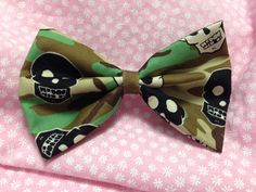Skull and Crossbones Camo Fabric Hair Bow