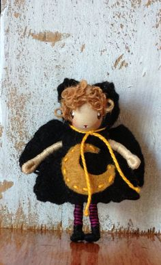 Waldorf Doll Bendy Doll Halloween Bat girl bendy doll by ACuriousTwirl. https://www.etsy.com/shop/ACuriousTwirl