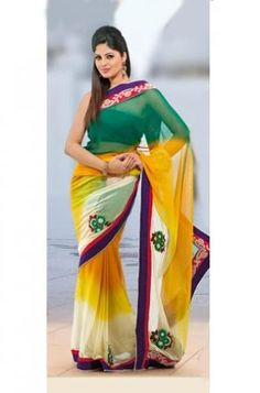 Yellow & Green Georgette Saree
