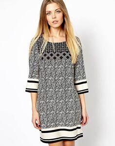 Vero Moda Mono Print Woven T-Shirt Dress