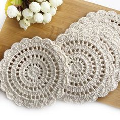 Items similar to Rustic Crochet Table Coasters, Cotton BeigeTable Doilies, Handmade Table Decoration for Dinning Room, Table Placemats Crochet Doilies on Etsy Crochet Doily Rug, Crochet Coaster Pattern, Crochet Tablecloth, Crochet Round, Crochet Home, Crochet Flowers, Knit Crochet, Crochet Leaves, Cotton Crochet