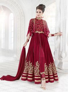 Buy Magenta Georgette Center Slit Anarkali Suit 88998 online at lowest price from vast collection at m.indianclothstore.c.