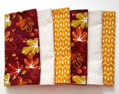 Cloth Napkins - Set of 6 - Large Dinner Napkins, Table Napkins - Mismatched, Assorted, Variety - Red Orange White Gold Leaves Leaf Figs by ClearSkyHome on Etsy