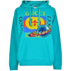 Gucci Planet Hooded Sweatshirt ($735) ❤ liked on Polyvore featuring tops, hoodies, blue sequin top, blue top, galaxy hoodies, embroidered hoodies and galaxy top