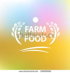 Vector logo for farming. Premium quality. Blurred landscape background